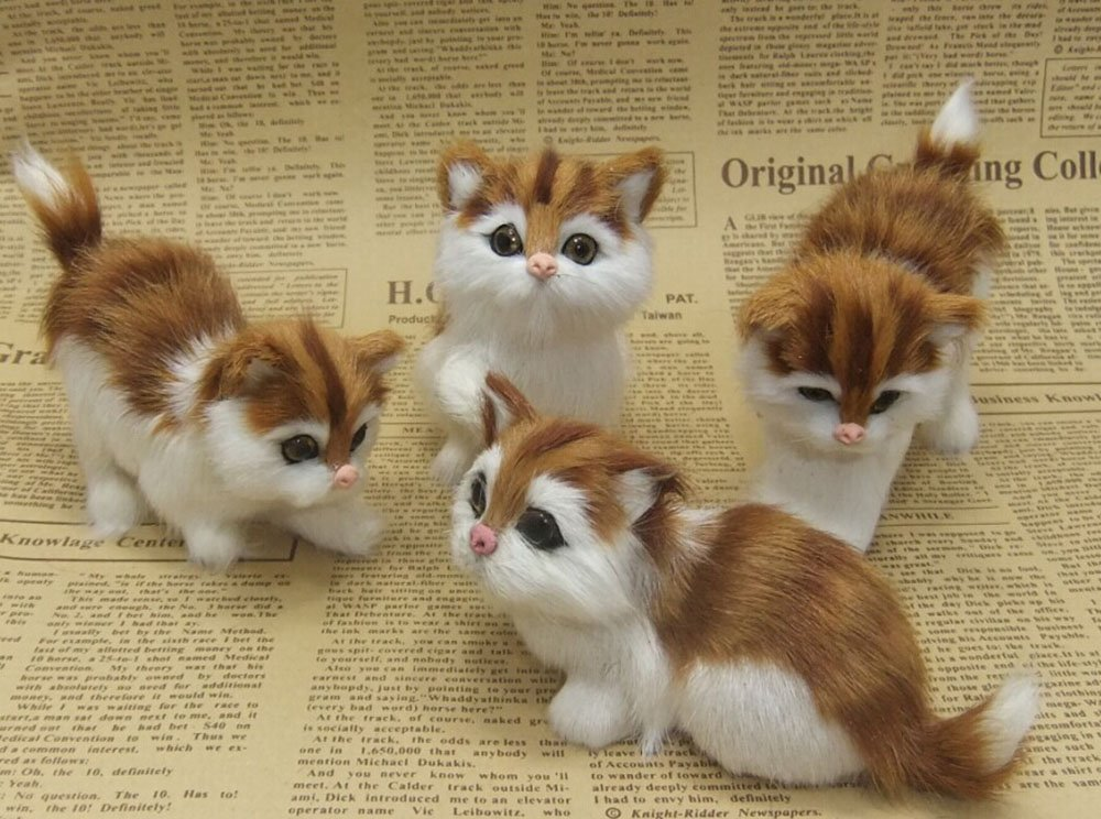 NICE PURCHASE Adorable Realistic Cuddly Handmade Fake Fur Cat Cute Toys Plushie Children's Gifts Animals