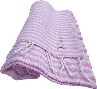 Amiaire Toalla de Playa Santa Barbara Pink - Toalla 100% algodón - Tamaño 100 x 180 cm - Incluye Bolsa de Viaje - Secado rápido - Toalla de Playa fouta: Amazon.es: Hogar