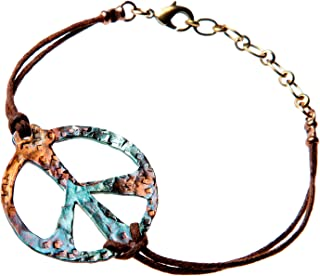 product image for Hand Hammered Bold Peace Symbol Iridescent Adjustable Cord Bracelet