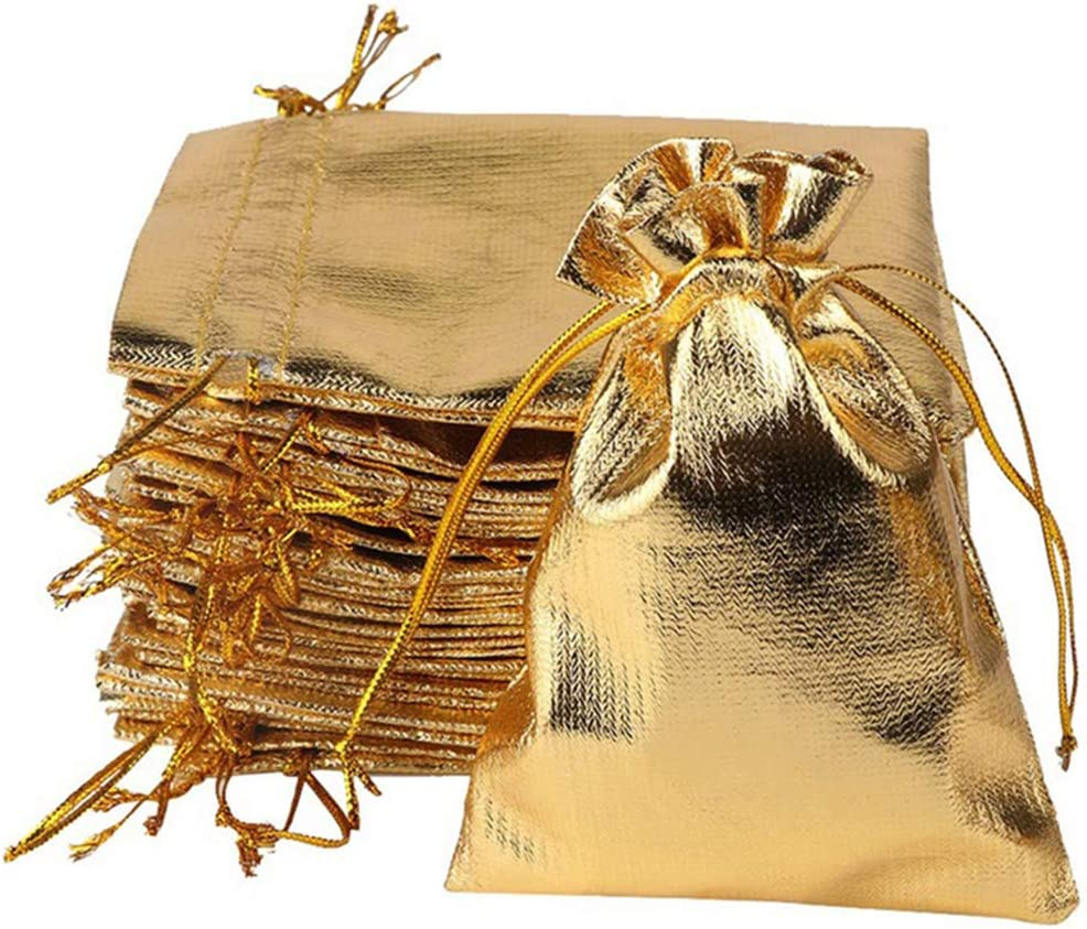 YUKUNTANG 100 Pcs Gold Drawstring Organza Bags Party Wedding Favor Gift Jewelry Bags 5x7 Inch Drawstring Pouches
