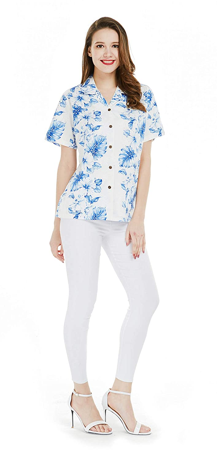 White With bluee Line Floral Made in Hawaii Women's Hawaiian Lady Aloha Shirt in bluee with White Line Floral