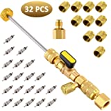Mudder R22 R134A R12 A/C Valve Core Remover with Dual Size SAE 1/4 & 5/16 Port, R410 R32 Brass Adapter, 20 Pieces Valve…
