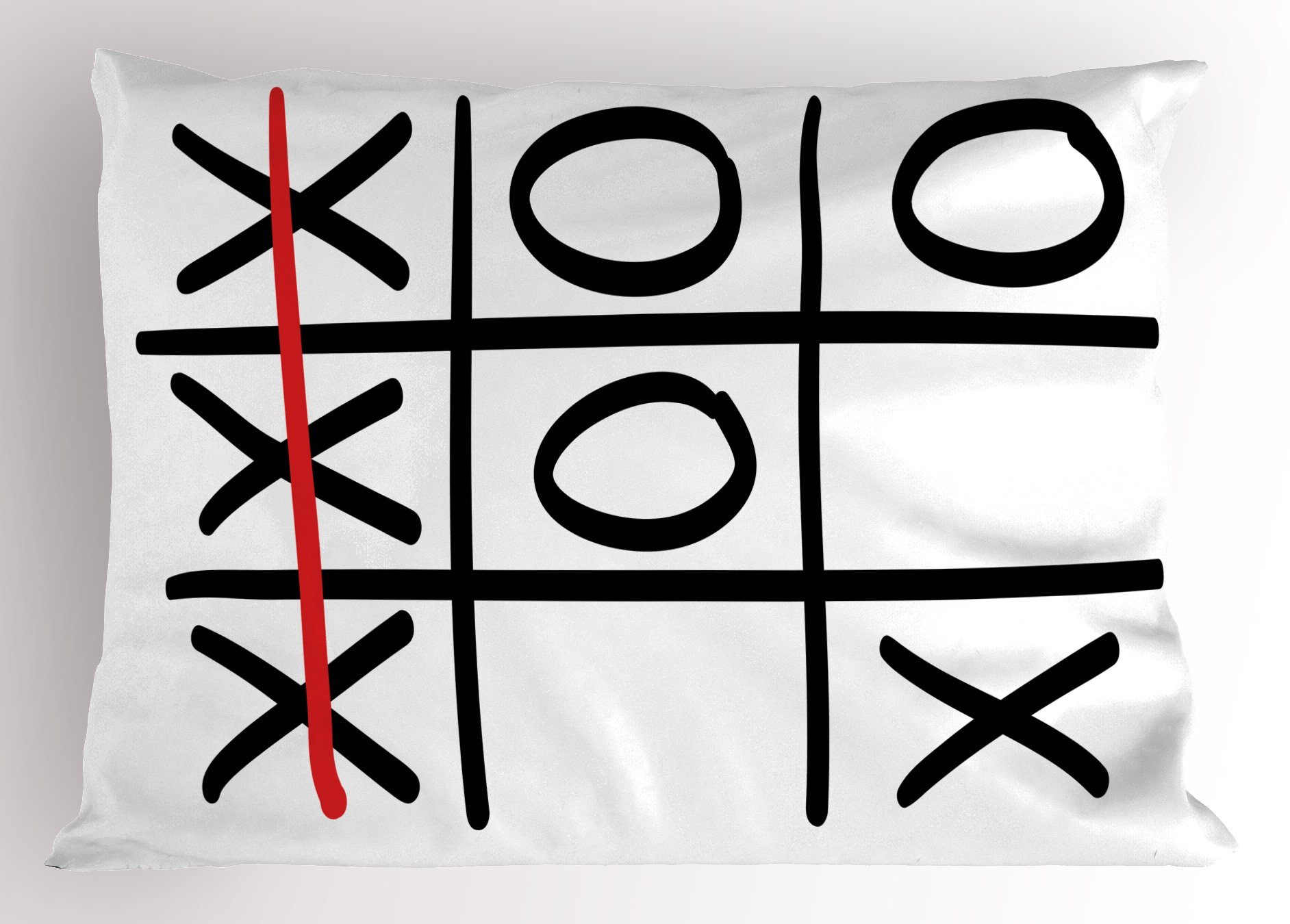 Ambesonne Xo Pillow Sham, Popular Tic Tac Toe Game Pattern Hand Drawn Design Win Victory Finish Theme, Decorative Standard Queen Size Printed Pillowcase, 30 X 20 inches, Vermilion Black White