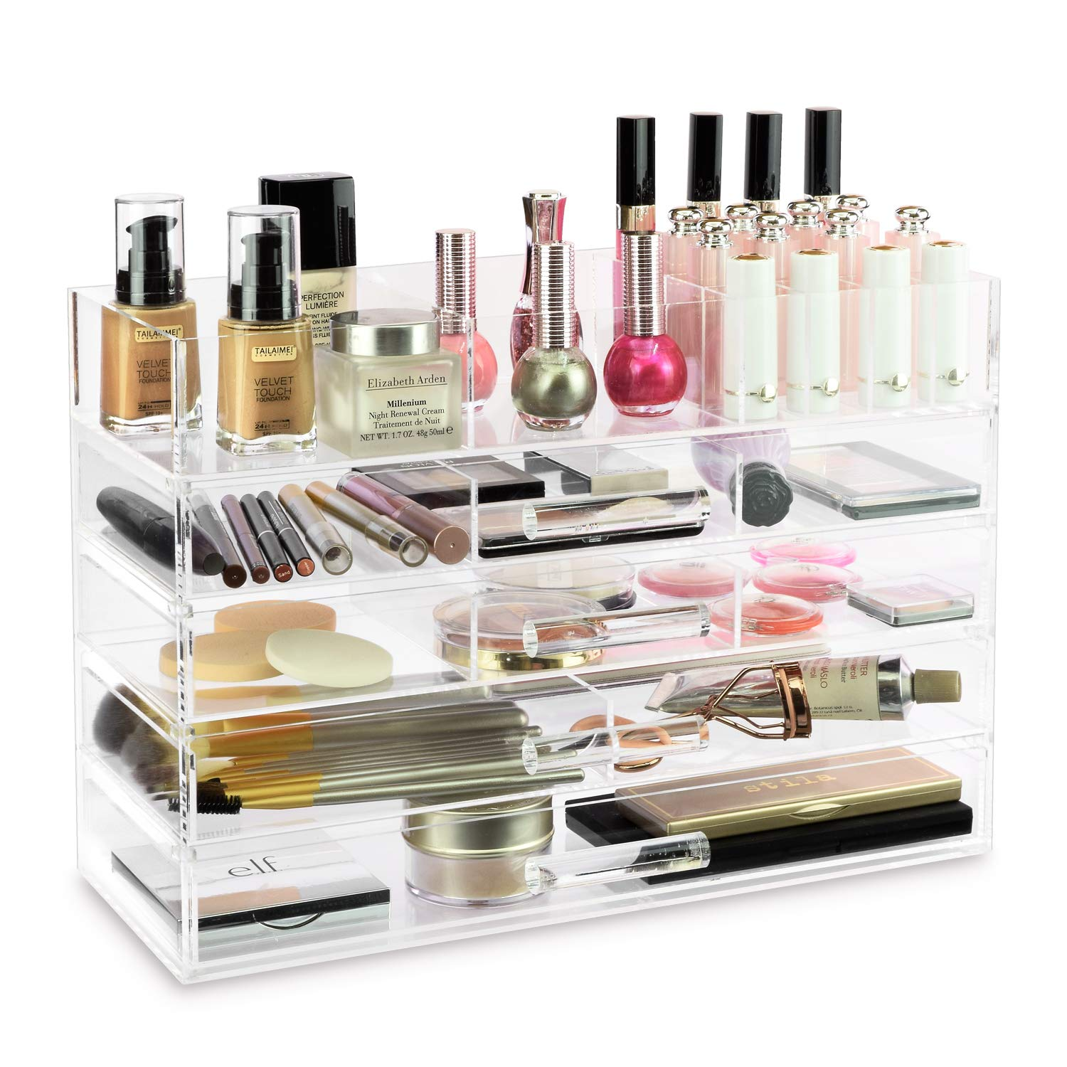 f541b0ef34cc Ikee Design Large Clear Acrylic Jewelry Accessory & Cosmetic Storage  Display Boxes