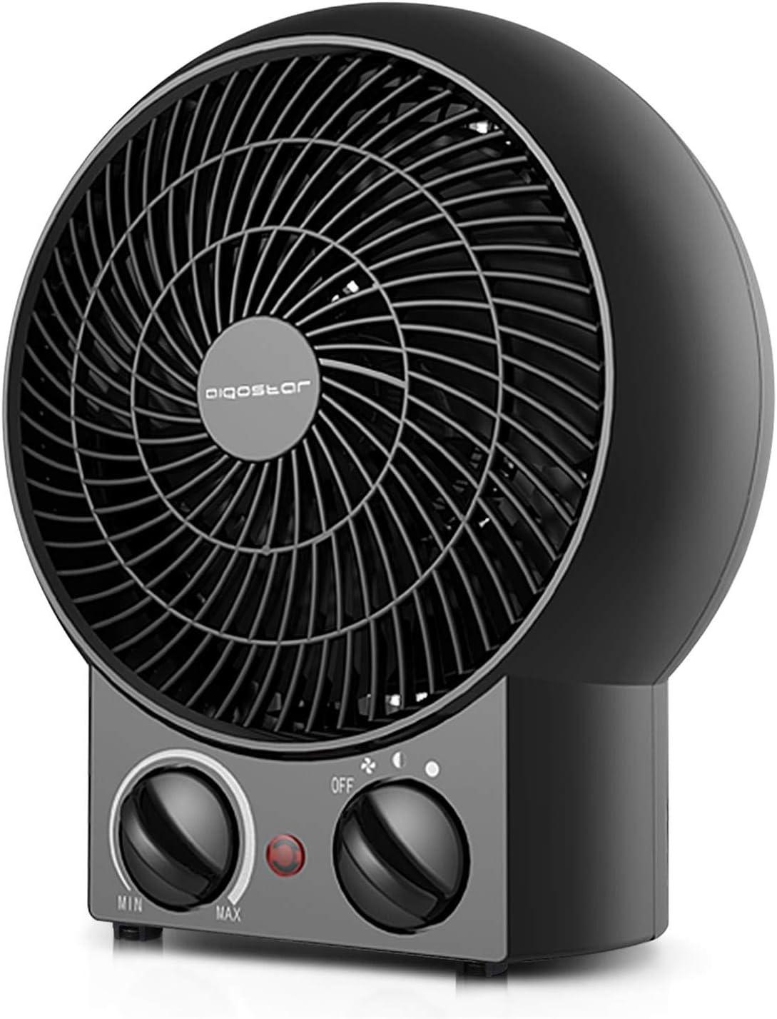 Aigostar Airwin Black 33IEL- 2000W Calefactor de aire con termostato regulable, función de aire caliente de dos niveles o ventilador con temperatura ambiente, color negro.