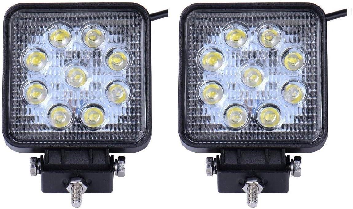 42W 48W Faro da lavoro a LED da 4 pollici Spot faro rotondo con lampada a fascio 9000LM LED Driving Nebbia per faro per motociclo Trattore Barca Fuori strada Escavatore,2 PZ,9B-Lamp-Beads 27W