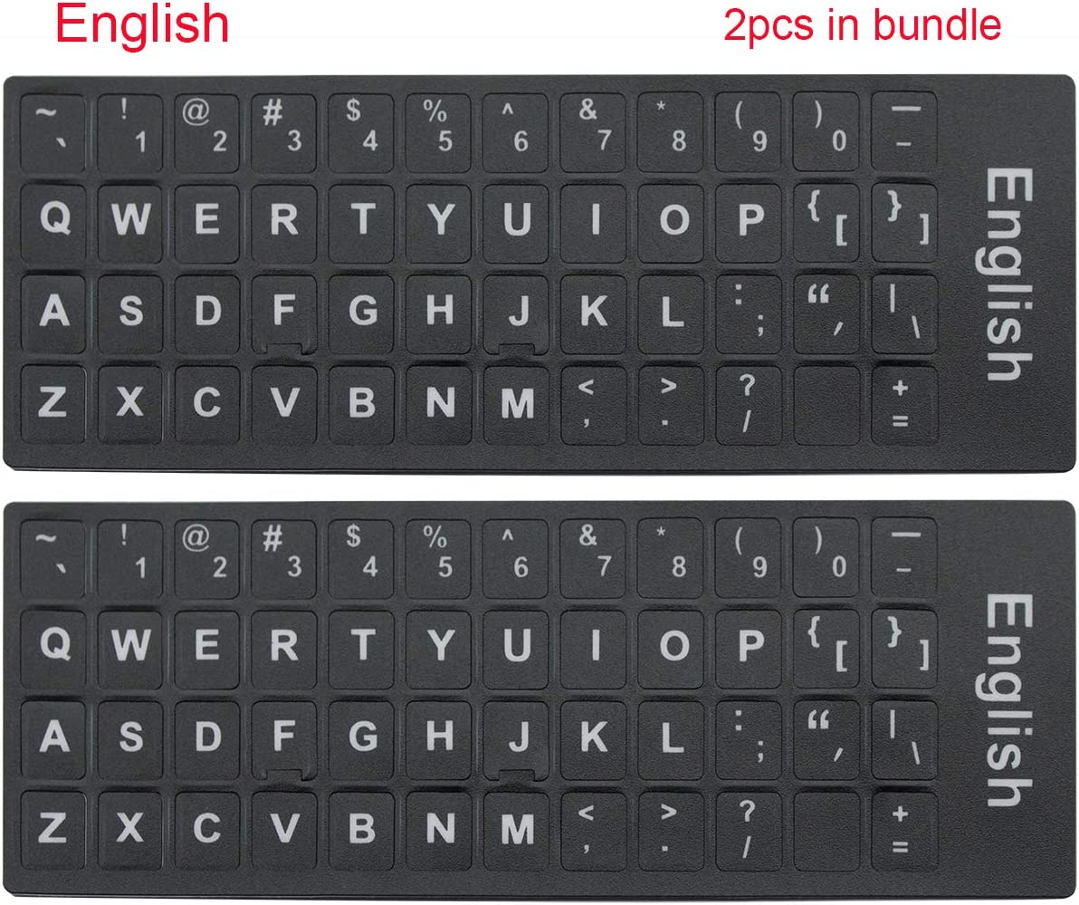 English Letters Non-Transparent Keyboard Sticker with White Lettering on Black Background for Universal Computer, Laptop, Desktop, Notebook Keyboard [2PCS]
