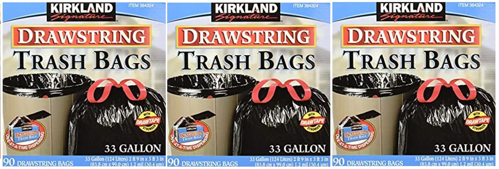 Kirkland Signature Drawstring Trash Bags - 33 Gallon - Xl Size - 3 Pack (90 count)