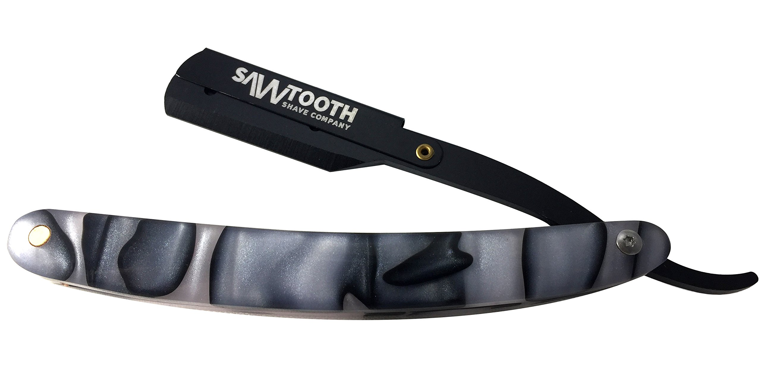 Straight Razor with Black and Silver Acrylic Handle by Sawtooth Shave Co, Includes Carrying Case, Replaceable Blades