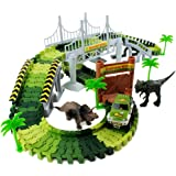 Boley 153 PC Dino Create A Road Playset - Dinosaur Track Construction Set Car, Dinosaurs More