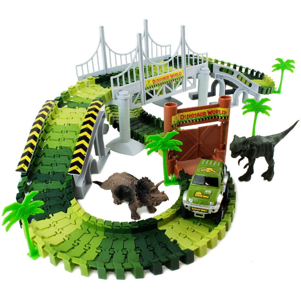 Boley Dino Create A Road Playset with 142 Track Pieces and 11 Additional Pieces Dinosaur Track Construction Set Car Dinosaurs More