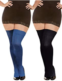 fe041db02 Womens Plus Size Long Thigh High Socks Warm Over the Knee High Boot  Stockings Leg Warmers