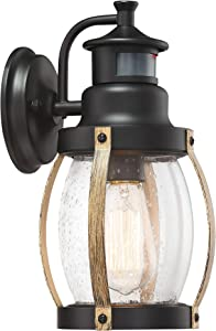MOTINI Black and Wood Outdoor Wall Lantern with Motion Sensor, 12'' Vintage Exterior Wall Lights with Clear Seeded Glass Shade Rustic Waterproof Wall Mount Lighting Fixture, ETL