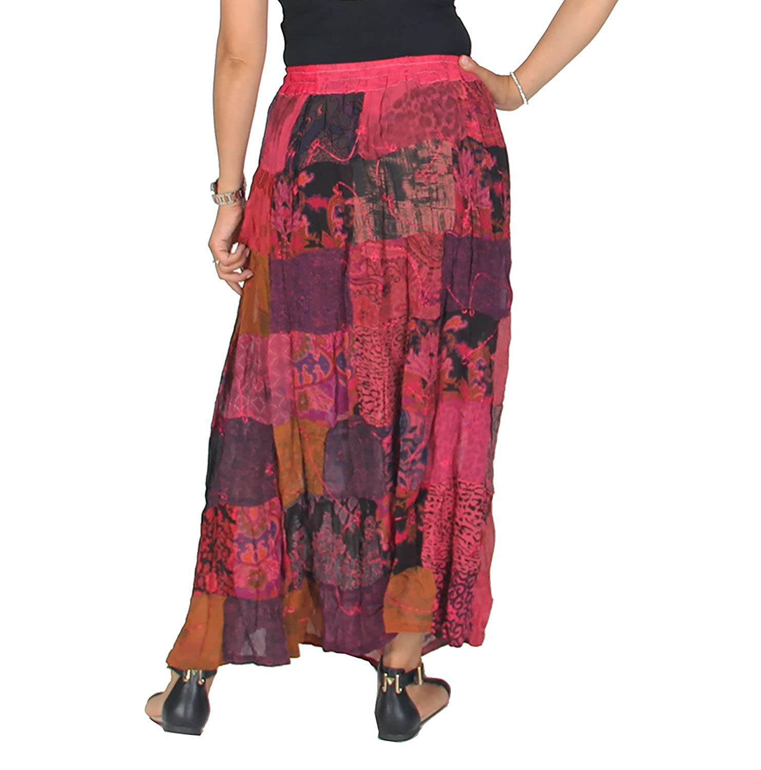fc06f248cd KayJayStyles Women's Hippie Bohemian Gypsy Vintage Ethnic Patchwork Long  Skirt (Pink) at Amazon Women's Clothing store: