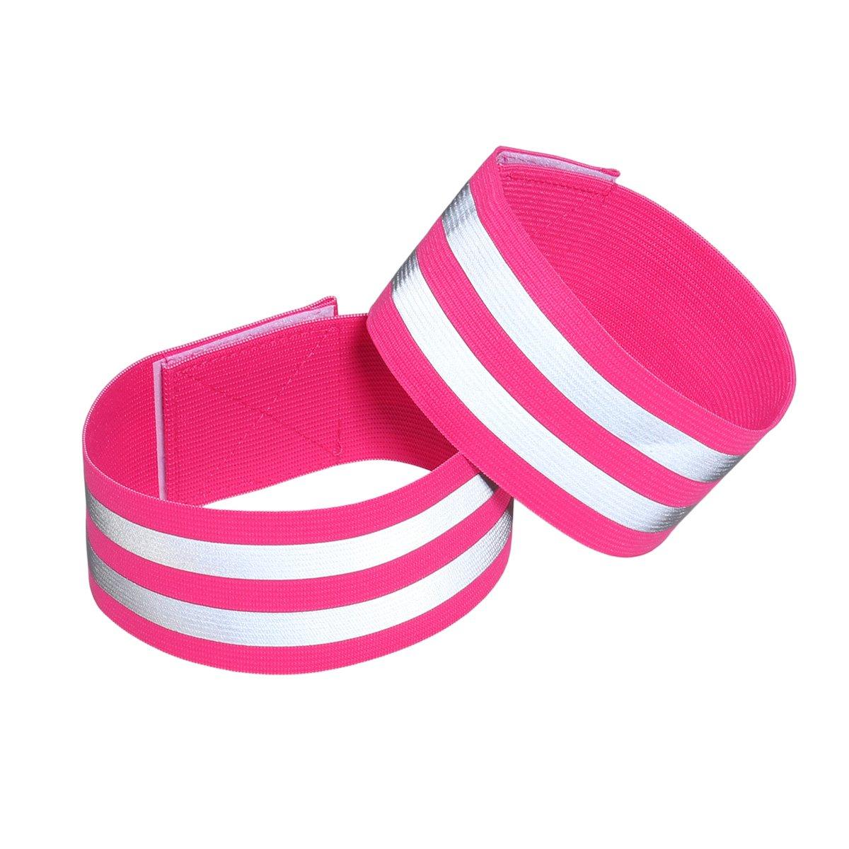 LIOOBO 1 para Reflektierende Bänder für Handgelenk Knöchelbein Reflektierende Laufbekleidung für Männer Frauen Nacht Laufen Radfahren Wandern