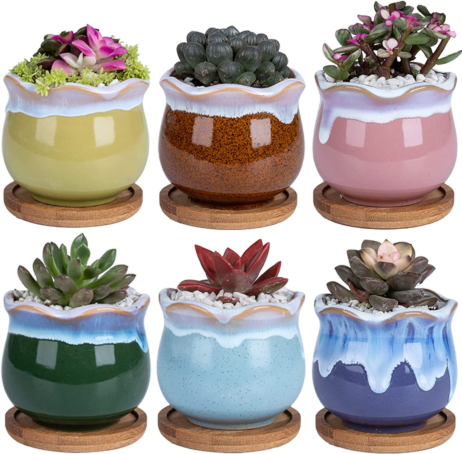 Ceramic Succulent Planters Garden Pots - DAFFBOX 2.75 Inch Small Ceramic Pots for Plants, Succulents, Cactus, Aloe, Plant Pots with Hole Mesh Pads and Waterproof Trays, Set of 6(Plants Not Included)