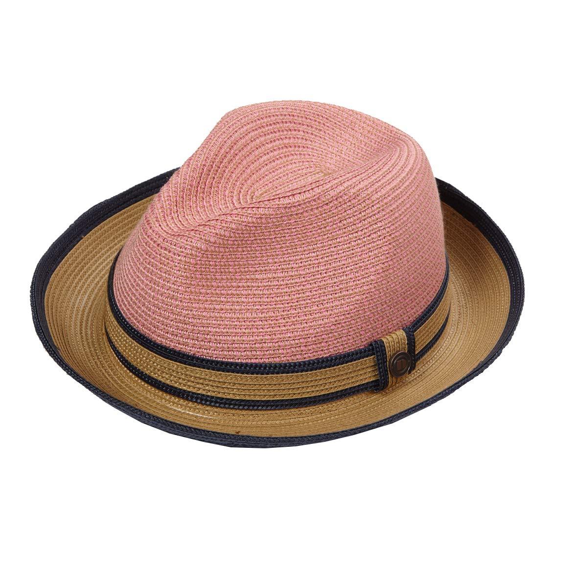 Dasmarca Mens Womens Twotone Summer Straw Fedora Hat - Benson Coral M