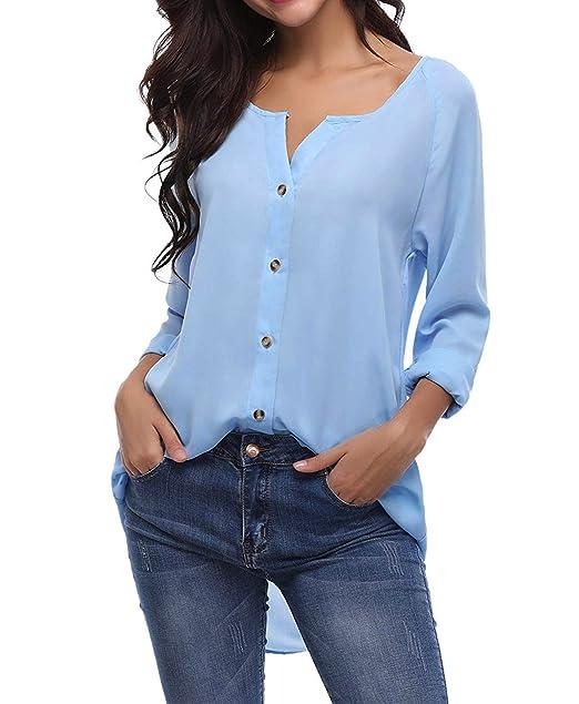 wholesale dealer 1d3c0 20592 Yidarton Damen Bluse Chiffon Langarm Oberteile Hemd Asymmetrisch Top