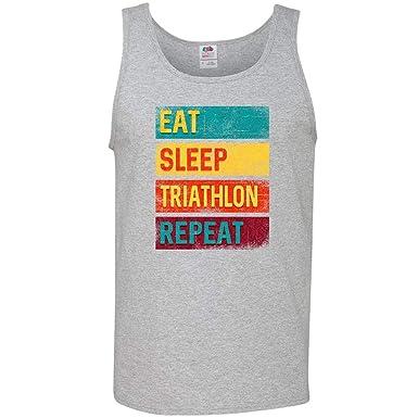 ac1fd4384 Amazon.com: inktastic - Running Eat Sleep Triathlon Repeat Men's Tank Top  34679: Clothing