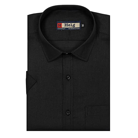 1bd2654d0c Helg Mens Formal LINEN Black Plain Full Sleeves Comfort Fit Shirt:  Amazon.in: Clothing & Accessories