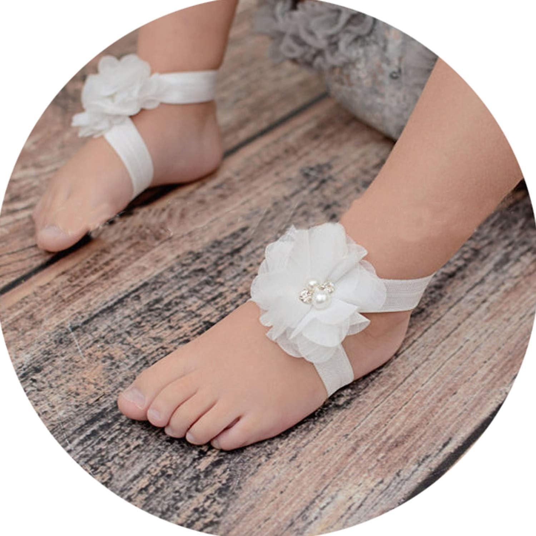 Barefoot Footwear Infant Sandals Baby Shoes Chiffon Rhinestone Foot Flower