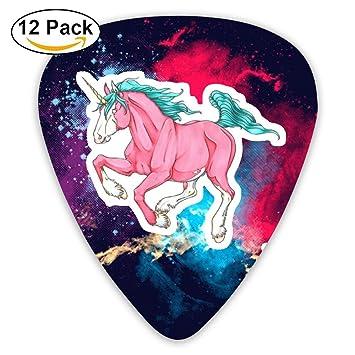 Púas para guitarra personalizadas de algodón con unicornio de celuloide para guitarra, paquete de 12