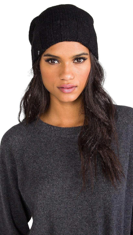 Black Plush Extra Slouchy Knit Fleece Lined Beanie Hat Black