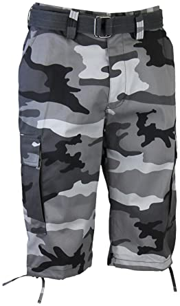 87f235f4f2 Regal Wear Mens Camouflage Cargo Shorts with Belt, Camo New City, 40:  Amazon.co.uk: Clothing