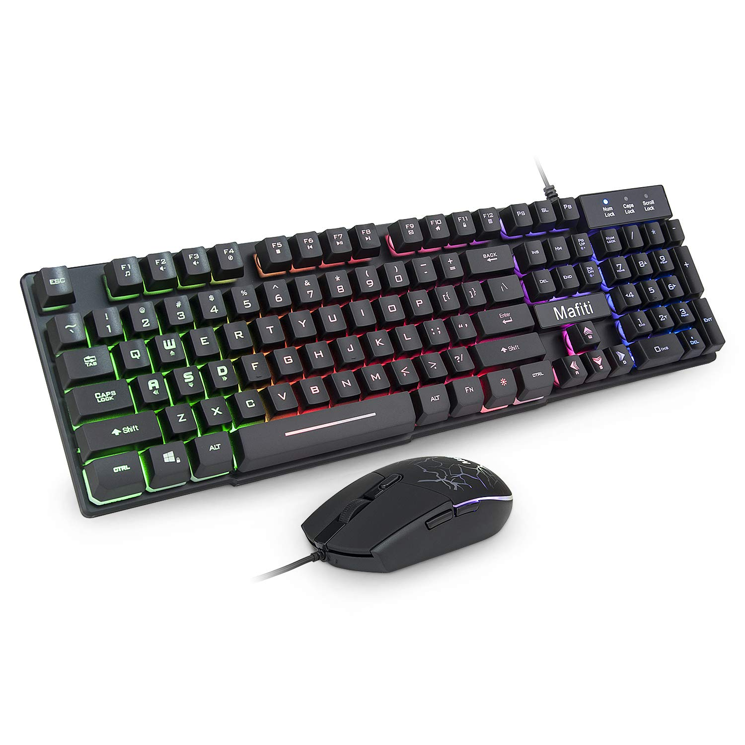 Mafiti Gaming Keyboard and Mouse Set, Rainbow Backlit Mechanical Feel Keyboard Colorful Breathing Backlit Gaming Mouse for Working or Gaming