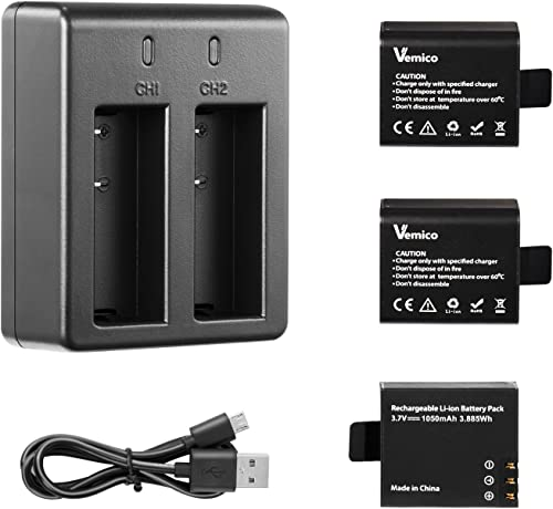 Vemico Action Camera Battery, 3x1050mAh Rechargeable Sports Action Camera Battery for AKASO Campark APEMAN DBPOWER NEXGADGET WiMiUS Lightdow EKEN with Dual Battery Charger Kit