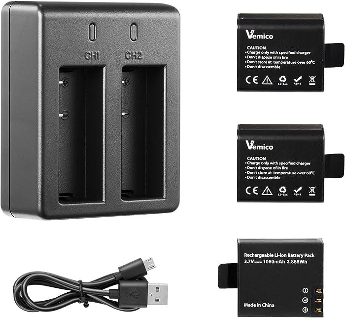 Vemico Action Camera Battery, 3x1050mAh Rechargeable Sports Action Camera Battery for AKASO/Campark APEMAN/DBPOWER/NEXGADGET/WiMiUS/Lightdow/EKEN with Dual Battery Charger Kit