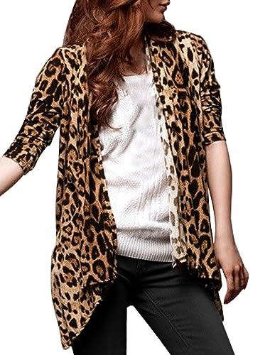 Allegra K Mujer Chaqueta Cárdigan largo con estampado de leopardo