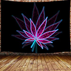 """Psychedelic Cannabis Leaf Tapestry Wall Hanging, Nature Trippy Marijuana Weed Leaf Hippie Purple Black Wall Tapestry Art for Tablecloth College Dorm Decor Living Room Bedroom Bedspread, (60""""W By 40""""L)"""