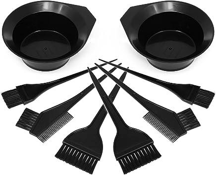com-four® Juego de tinte para el cabello de 8 partes con diferentes cepillos y tinte en negro, juego de tinte para mezclar el tinte para el cabello ...