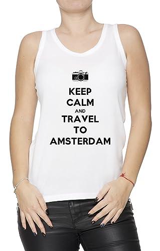 Keep Calm And Travel To Amsterdam Mujer De Tirantes Camiseta Blanco Todos Los Tamaños Women's Tank T...