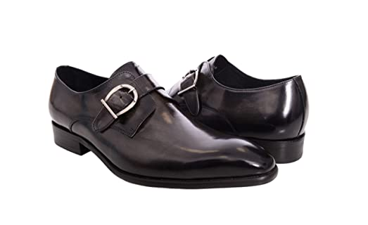 Carrucci Gray With Burnished Black Toe Single Monk Strap Leather Dress Shoes