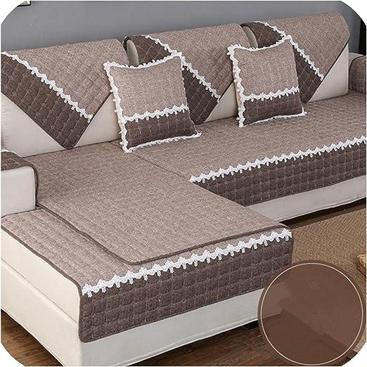 Green Plaid Funda de sofá de Lino de algodón de 1 Pieza Toalla de ...
