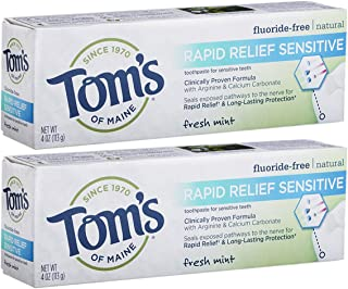 product image for Tom's of Maine, Natural Rapid Relief Sensitive Toothpaste, Natural Toothpaste, Sensitive Toothpaste, Fresh Mint, 4 Ounce, 2-Pack