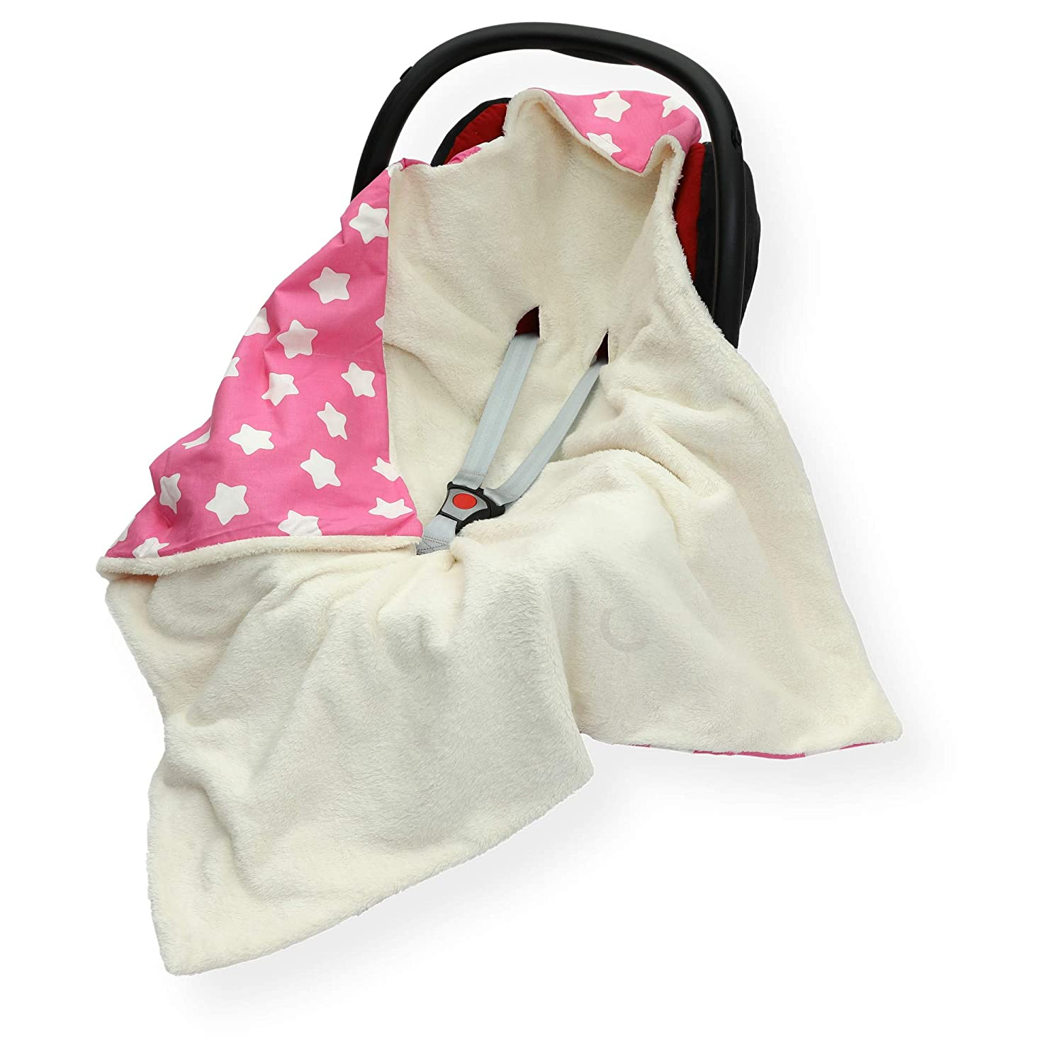 Butterfly at Grey//White Double Sided CAR SEAT Blanket//Cover // COSYTOES FOOTMUFF 100 x 100cm Hooded Blanket with SEAT Belt Holes