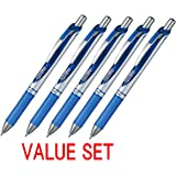 Pentel EnerGel Deluxe RTX Retractable Liquid Gel Pen,0.7mm, Fine Line, Metal Tip, Blue Ink-Value set of 5 (With Our Shop Original Product Description)