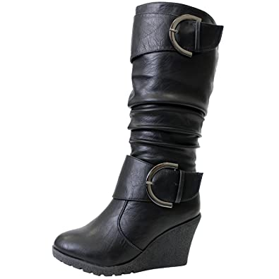 Amazon.com | Pure 65 Womens Slouch Wedge Boots Black | Knee-High