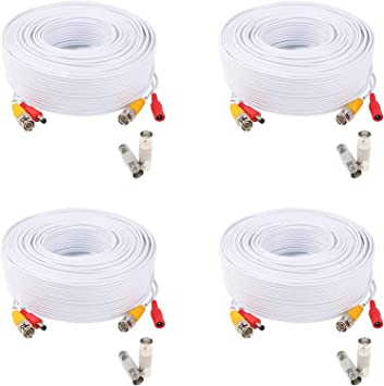 WildHD Bnc Cable 200ft All-in-One Siamese BNC Video and Power Security Camera Cable BNC Extension Wire Cord with 2 Female Connetors for All Max 5MP HD CCTV DVR Surveillance System 200ft Cable, White