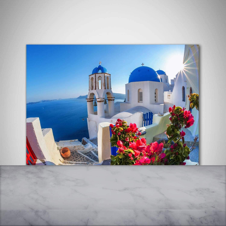 Toughened//Tempered Safety Real Glass Santorini Greece Blue Kitchen Wall Panels Cooker Hob Wall Splashback Sights /& architecture Tulup Splashback Backsplash 100x70cm Heat Resistant