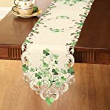 Embroidered Irish Shamrock Table Linens, RUNNER, Polyester