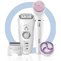 Braun Silk-épil Professional Beauty-Set 7-895 6-in-1 Kabellose Wet&Dry Haarentfernung, Epilierer, Rasierer, Peeling und Reinigung für Gesicht und Körper, weiß/silber