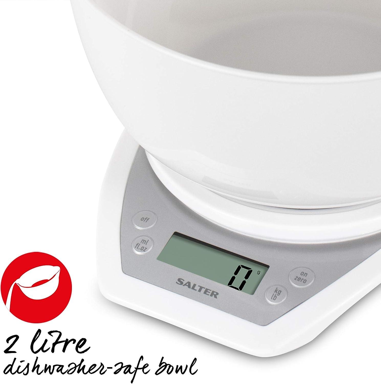 capacit/à 5KG Bianco Salter 1024 WHDR14 Bilancia da Cucina con Ciotola da 2 Litri con Beccuccio Doppio Funzione Aggiungi e Pesa Garanzia 15 Anni 20 22 13
