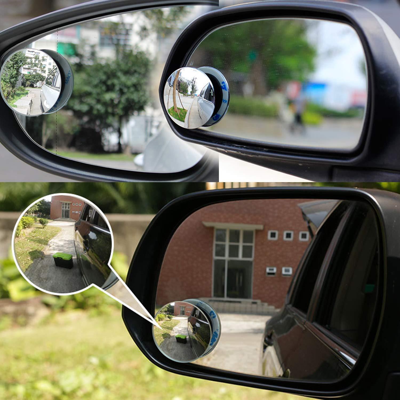 Giotee Espejo De Punto Ciego,Rimless Hd Cristal Gran Angular Girar Ajustable 360 /° Hd Espejo Retrovisor Universal 4 Pcs Para Todos Los Coches Camiones,SUV y Furgonetas