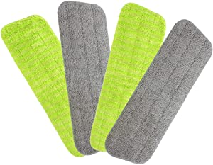 4 Pack Washable Microfiber Spray Mop Replacement Heads for Wet Dry Mops, Microfiber Mop Pads for Cleaning Hardwood Tile Parquet Floors and Other Floors
