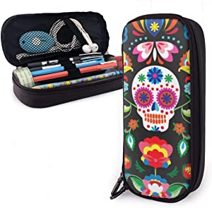 NiYoung Fashion Big Capacity Pencil Pen Case Stationery Box Desk Organizer with Zipper Storage Pouch Holder for School & Office Supplies - Mexican Sugar Skulls Day of The Dead Flowers