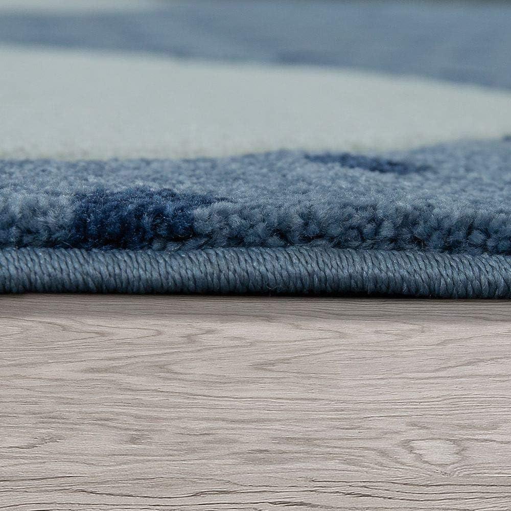 Paco Home Kinderteppich Indigo Blau Trend Modern Niedlicher Hase Gepunktet 3D Blau Gr/össe:80x150 cm